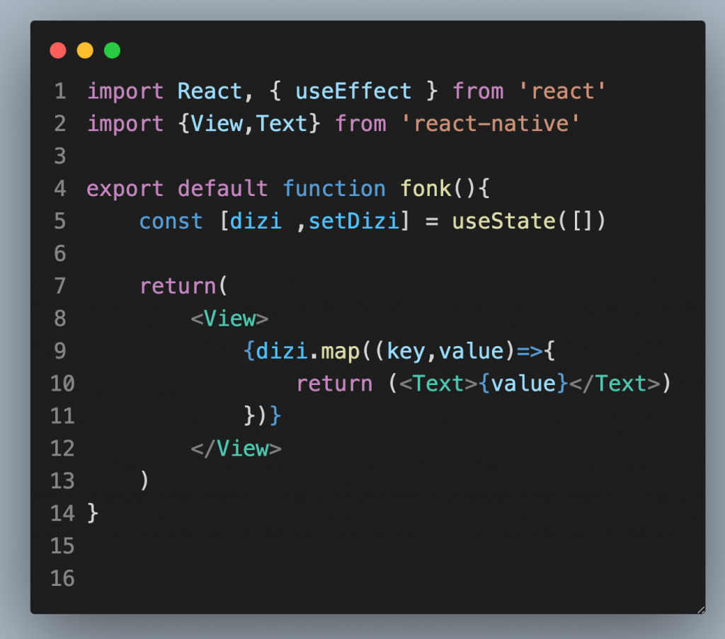 react native implement map func